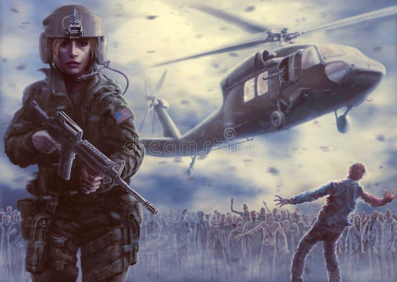 Woman pilot and zombie apocalypse poster stock photo