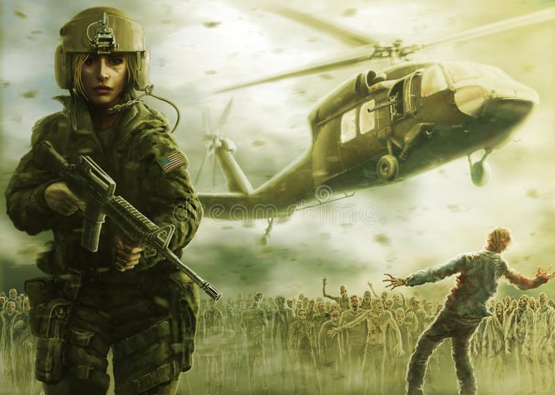 Woman pilot and zombie apocalypse. Warm green color. royalty free illustration