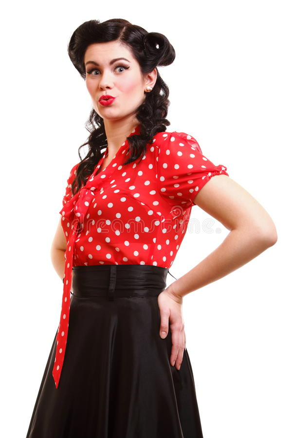 Woman Pin-up Make-up Hairstyle Posing In Studio Royalty Free Stock Image