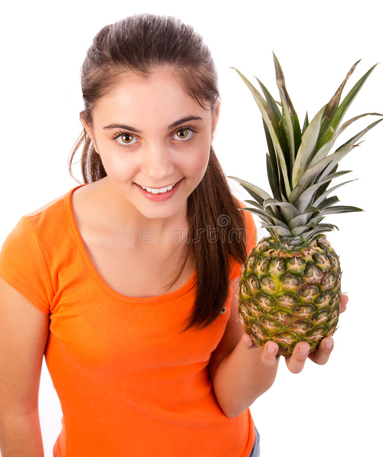 Download Woman with pineapple stock image. Image of happy, fresh - 28133615