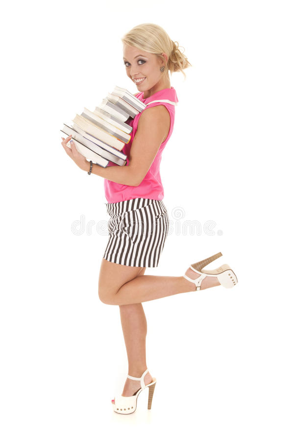 Download Woman In Pink And Black Stripes Books Leg Up Stock Image - Image of female, lady: 32368499