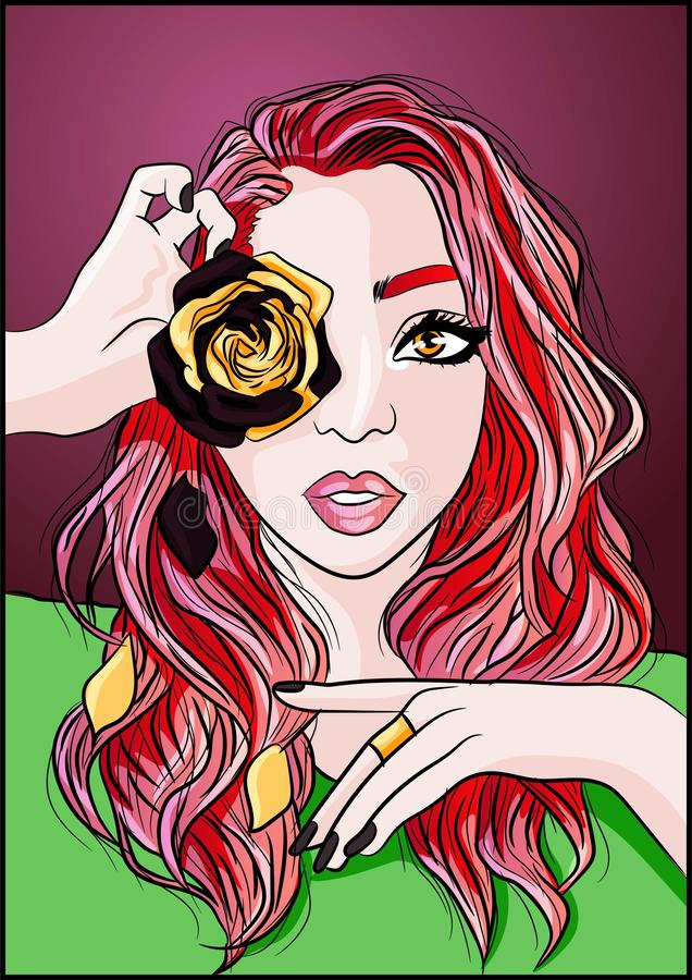 Woman with pink curly hair holding a golden rose with brown dead petals near her eyes. Conceptual illustration of life and aging royalty free illustration