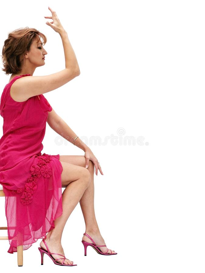 Woman In A Pink Dress Free Stock Image