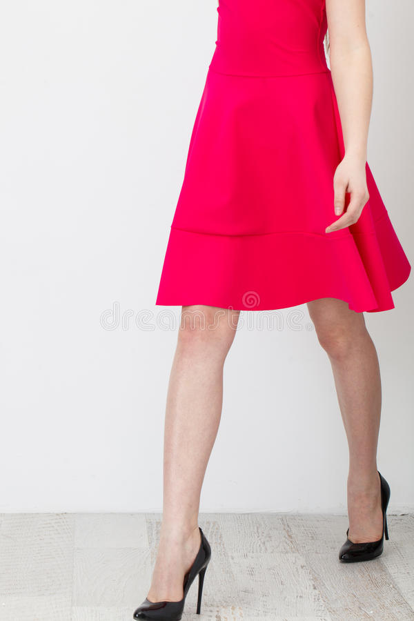 Woman in Pink Dress. Beautiful Woman in pink Dress on White royalty free stock photos