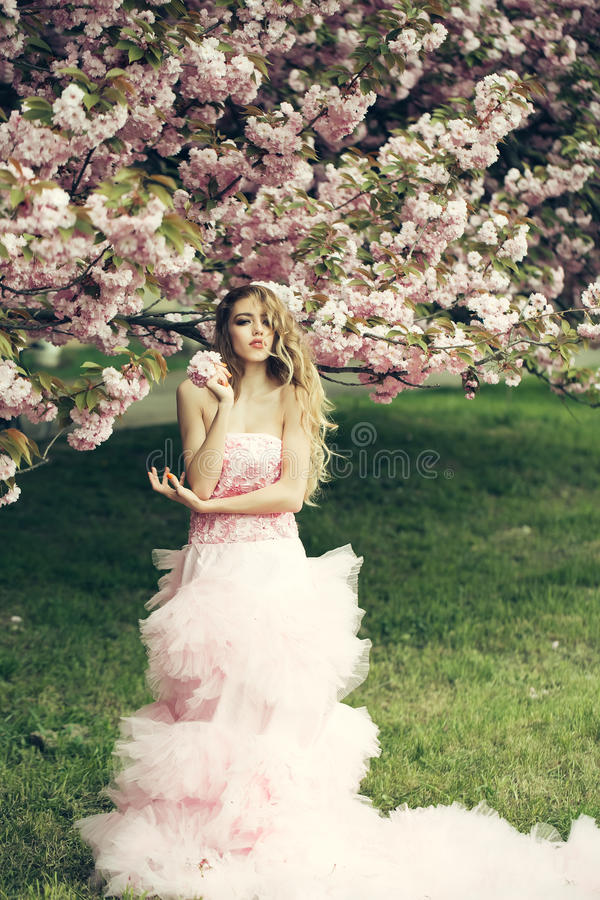 Woman in pink dress near bloom. Beautiful young woman in pink glamour dress with long curly hair in spring flowers bloom stock images