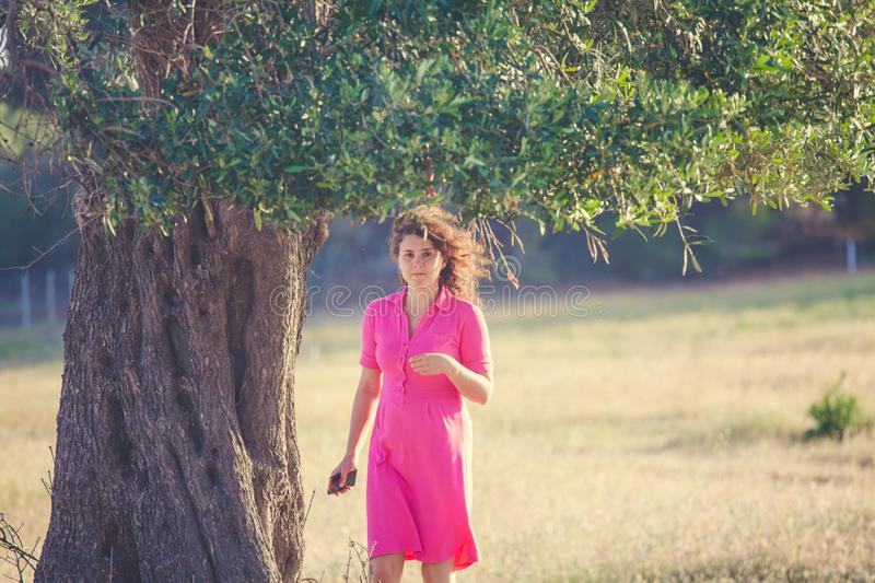 A woman in pink dress under an olive tree stock photography