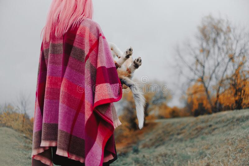 Woman with pink hair holding her puppy outdoors, rear view royalty free stock photography
