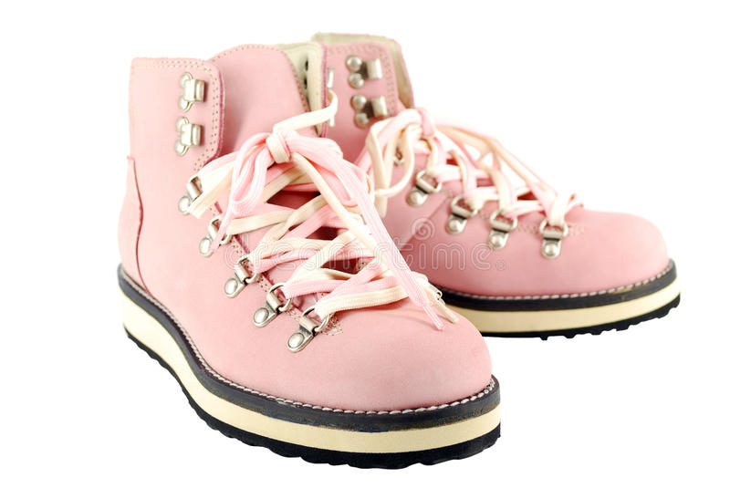 Woman pink hiking boots stock photography