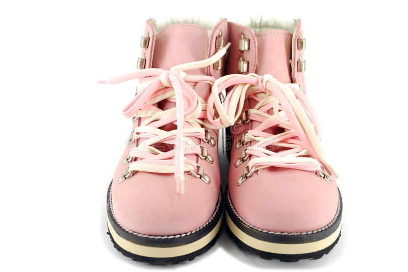 Woman pink hiking boots royalty free stock images