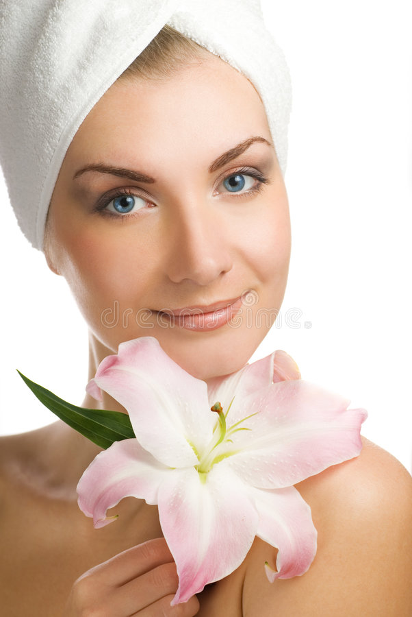 Woman With Pink Lily Stock Image