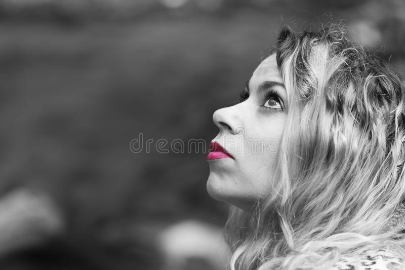 Woman pink lips stock images