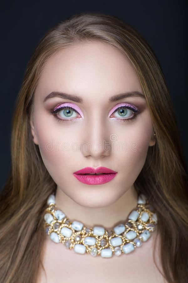 Woman with pink make up royalty free stock images