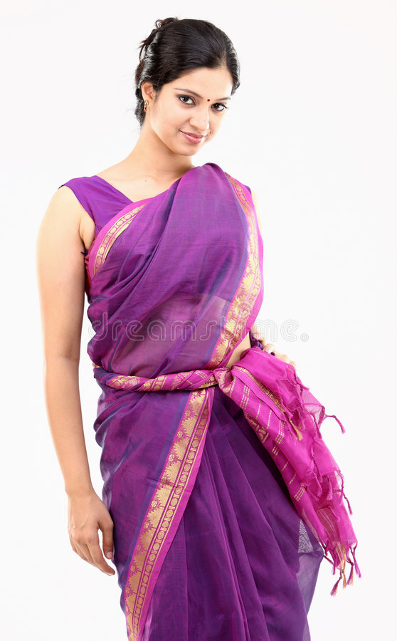 Woman in pink sari. With standing pose stock photo