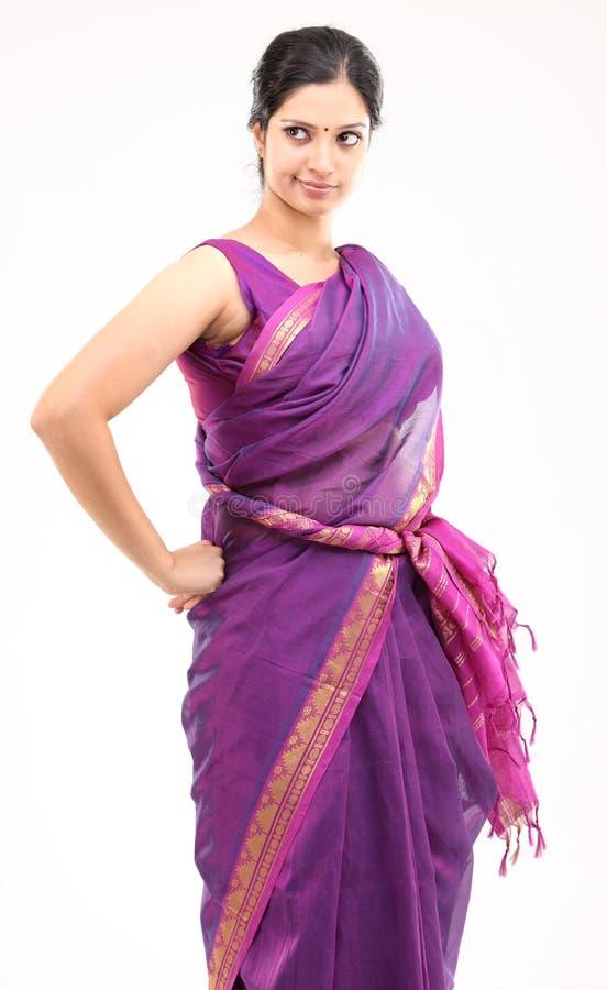 Woman in pink sari royalty free stock photos