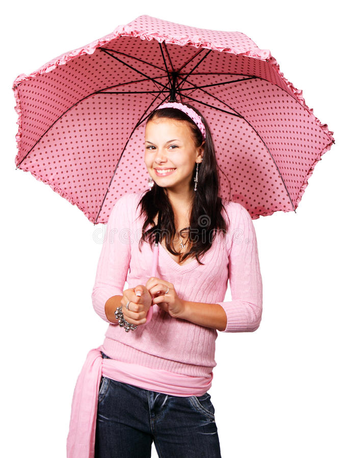 Woman with pink umbrella royalty free stock image