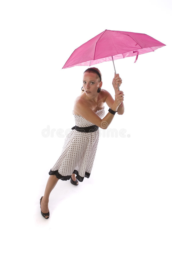 Download Woman with Pink Umbrella stock photo. Image of polka, holding - 3454226