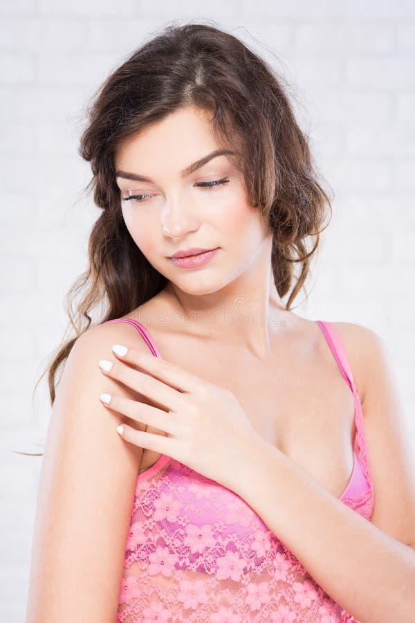 Woman in pink underwear stock image