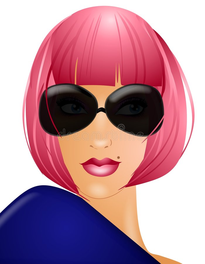 Woman In Pink Wig Sunglasses. An illustration featuring a woman incognito, wearing a pink wig and dark black sunglasses to conceal her identity