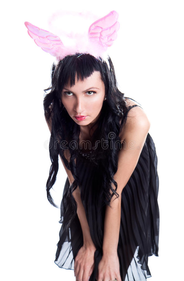 Woman With  Pink Wing Stock Photos