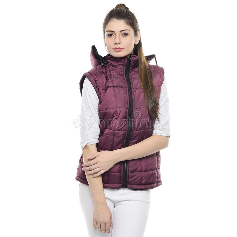 Woman In Pink Zippered Bubble Vest And White Jeans Free Public Domain Cc0 Image