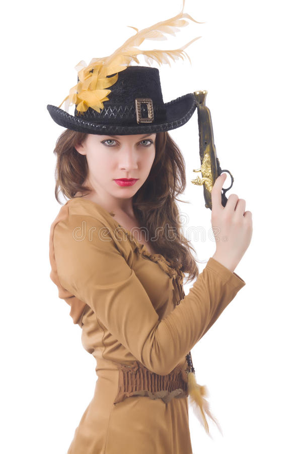 Woman in pirate costume isolated royalty free stock photo