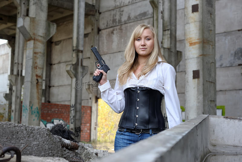 Woman With Pistol Stock Photos