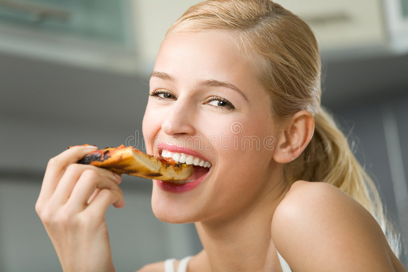 Woman With Pizza Royalty Free Stock Photo