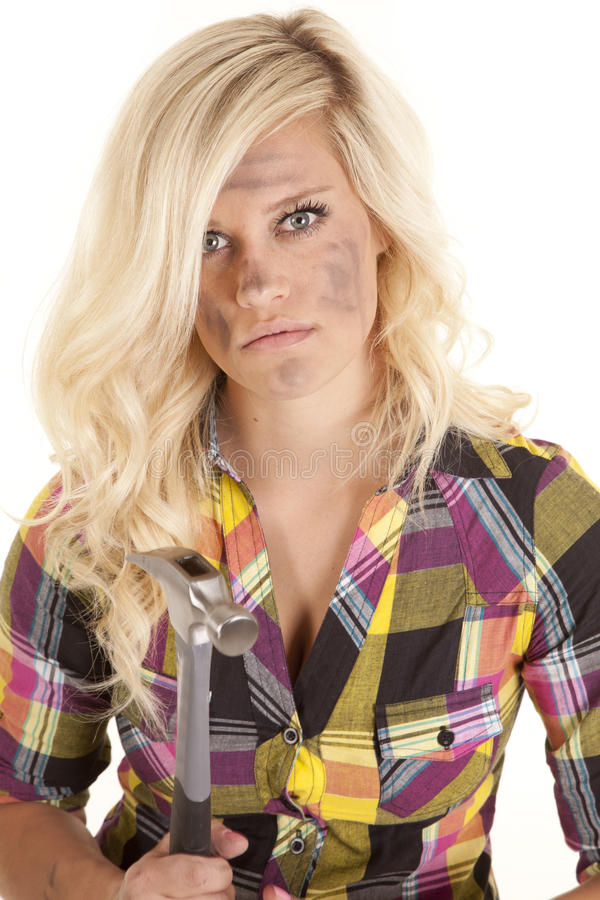 Download Woman In Plaid With Hammer Stock Photography - Image: 24638222