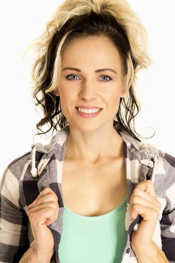 Woman in plaid shirt close smile looking royalty free stock photo