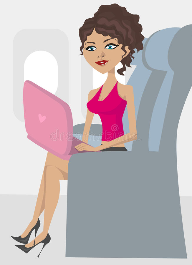 Woman in the plane royalty free illustration