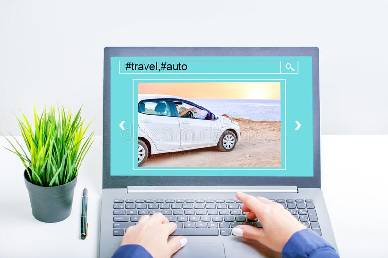Woman planning his travel online. Trip, vacation, summer, auto concept. royalty free stock photography
