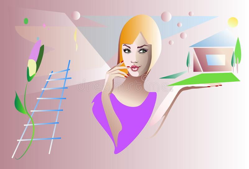 woman planning to build a house, buying a home stock illustration
