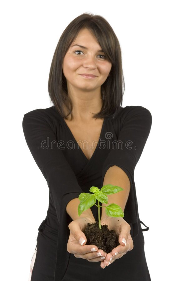 Woman with plant royalty free stock photography