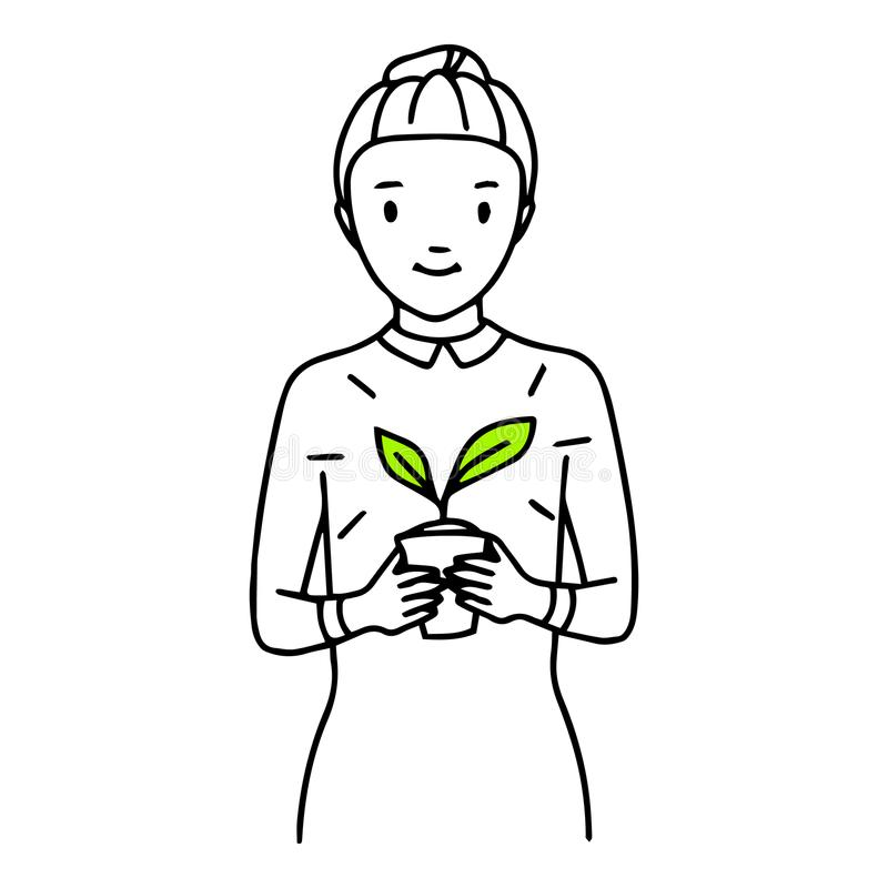 Woman with a plant in a pot in her hands. Hand drawn thin line art, hand drawn line royalty free illustration