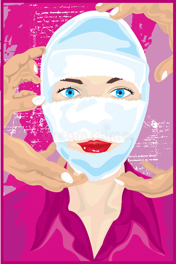 Woman With Plastic Surgery royalty free illustration