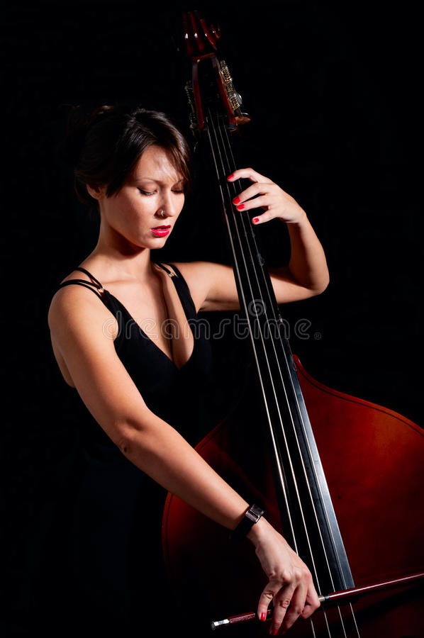 Download Woman Play Classic Contrabass Using Stock Photo - Image: 26876750
