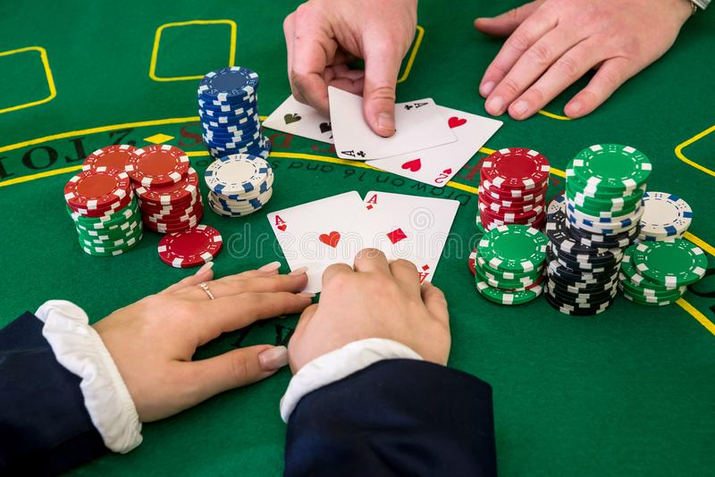 Woman play with dealer, black jack, casino.  royalty free stock photos