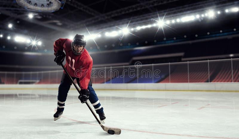 Woman play hockey . Mixed media stock photos