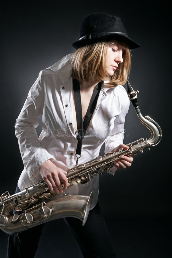 Download Woman Play On Saxophone Stock Images - Image: 8748514