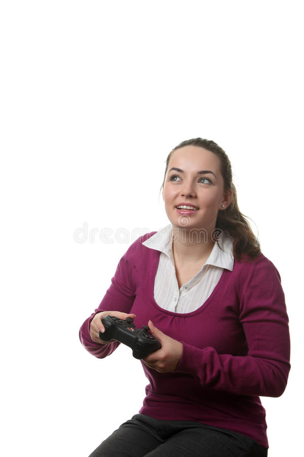 Free Woman Play Wideogame Stock Photo - 17750870
