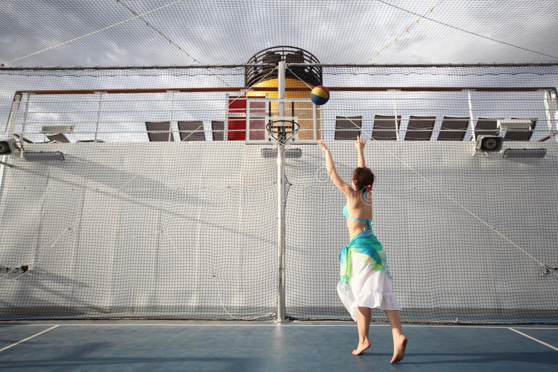 Download Woman Playing Basketball On Deck Of Cruise Ship Stock Image - Image: 17515007