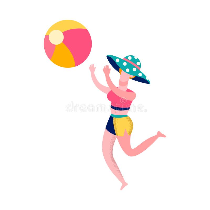 Woman Playing Beach Volleyball Flat Illustration royalty free illustration