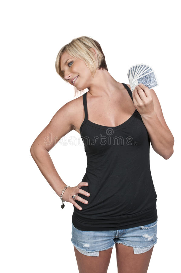 Download Woman Playing Cards stock photo. Image of leisure, lady - 21472192