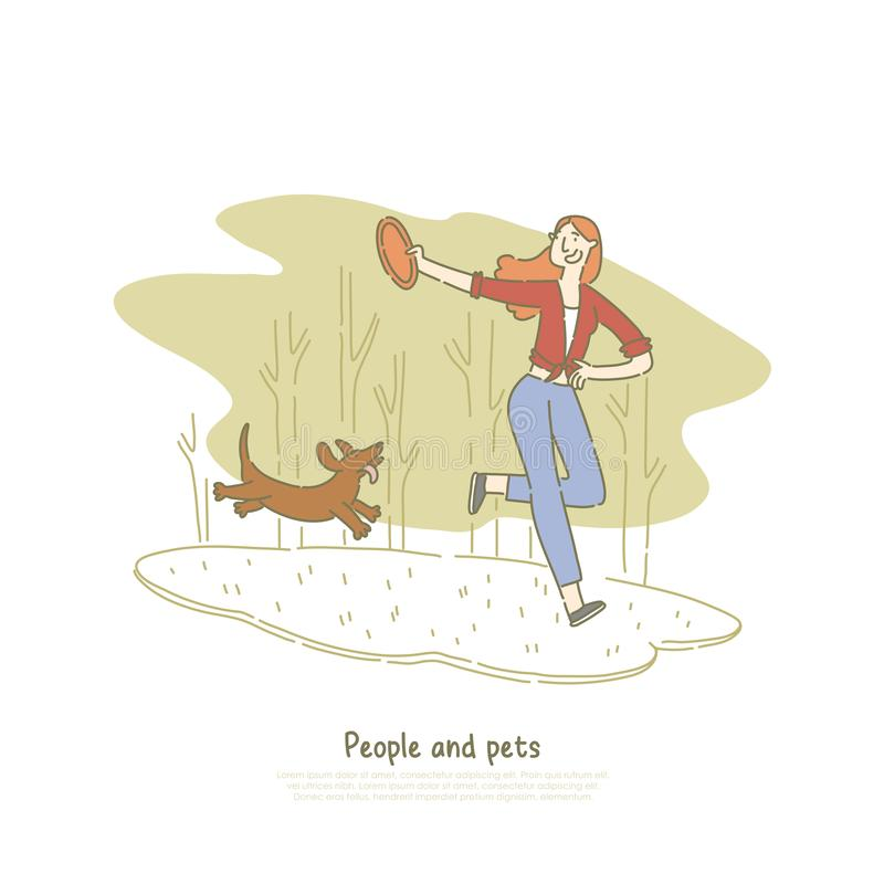 Woman playing with dachshund dog, girl throwing toy for puppy, pet and owner running, walking in park banner template royalty free illustration