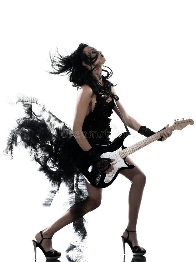 Woman playing electric guitar player stock photos