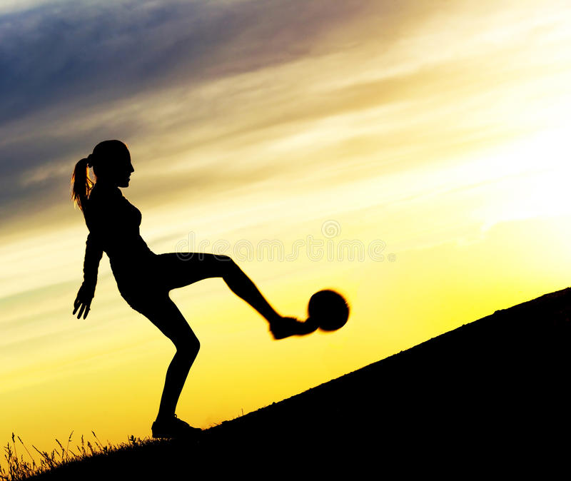Download Woman playing football stock photo. Image of ball, hill - 20061744