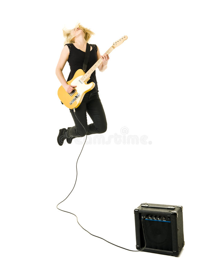Woman playing guitar stock images