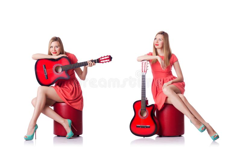 Woman playing guitar isolated on white royalty free stock photos