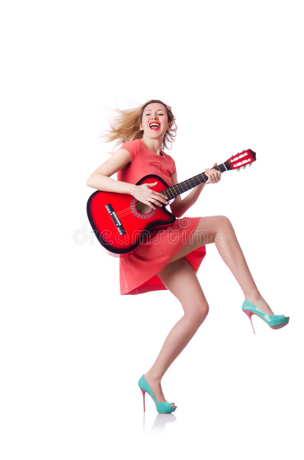Download Woman playing guitar stock photo. Image of party, crazy - 30219958