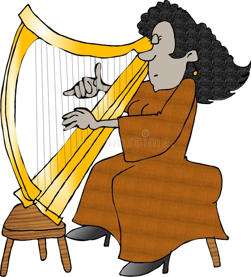 Woman playing a harp stock illustration